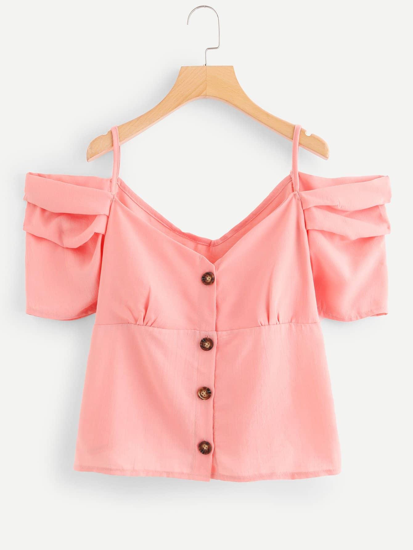 Купить Элегантный Одноцветный Пуговица Розовый Блузы+рубашки, null, SheIn