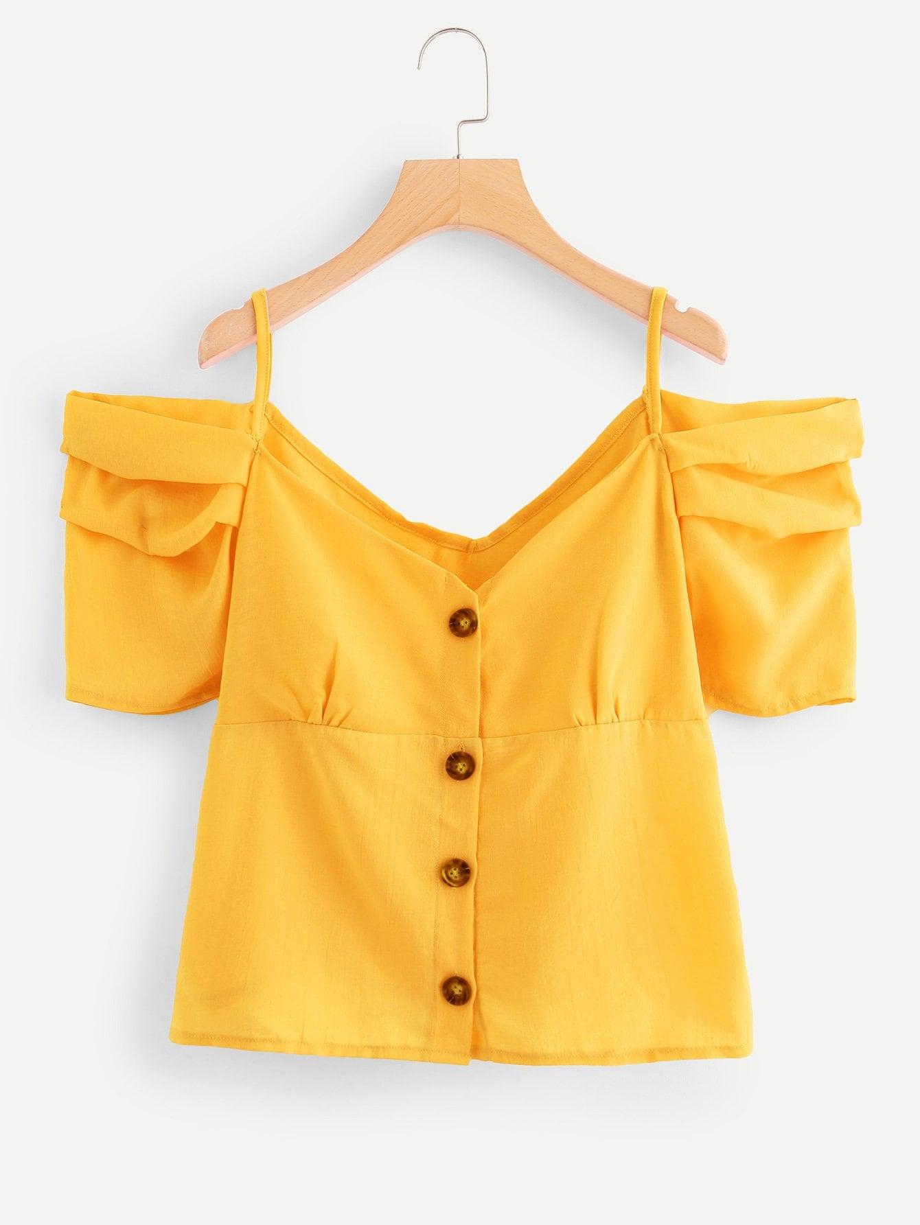 Купить Элегантный Одноцветный Пуговица Желтый Блузы+рубашки, null, SheIn