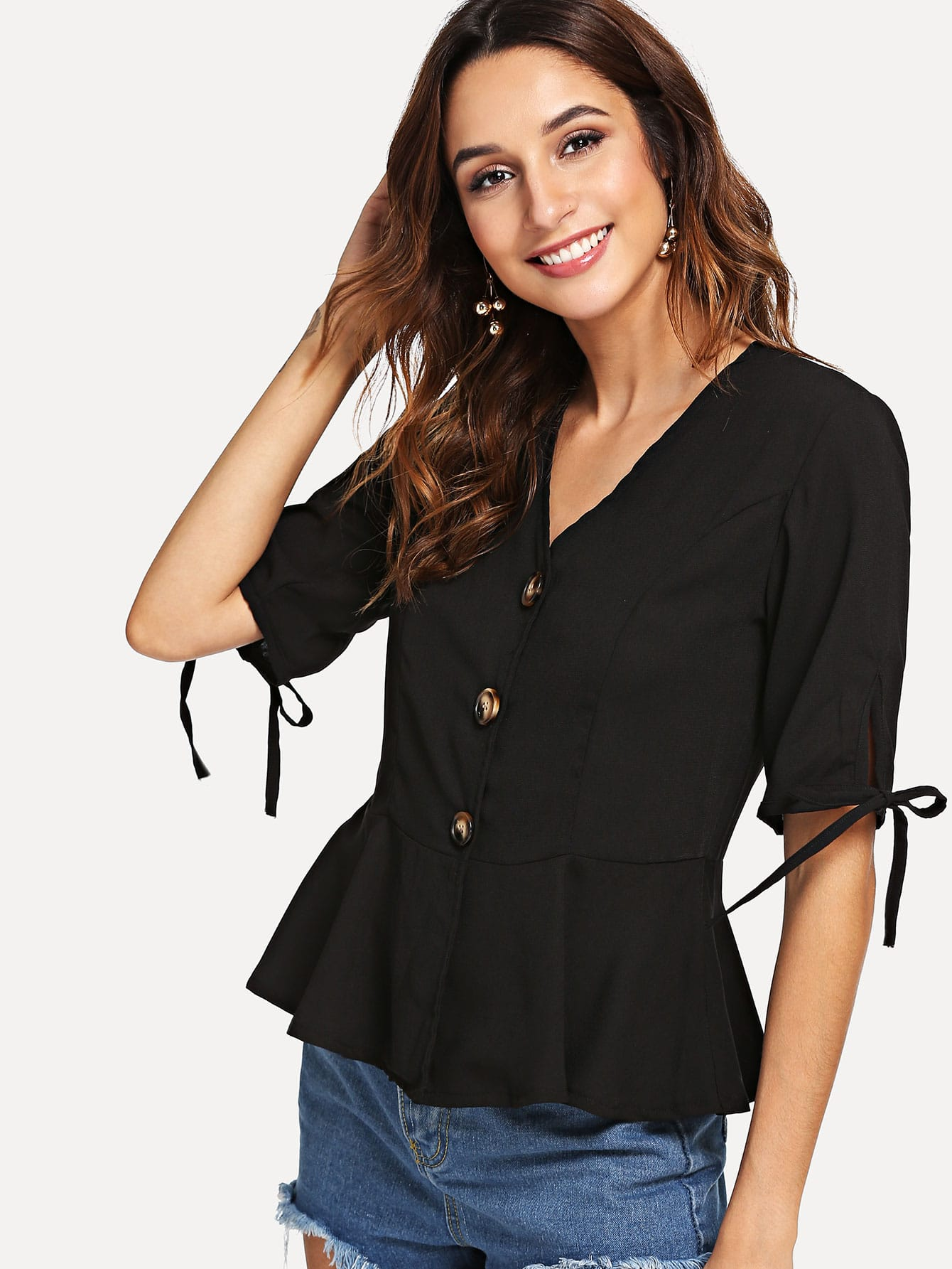 Купить Повседневный Одноцветный Пуговица Черный Блузы+рубашки, Gabi B, SheIn