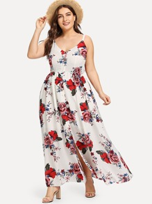 Plus Split Hem Floral Cami Dress
