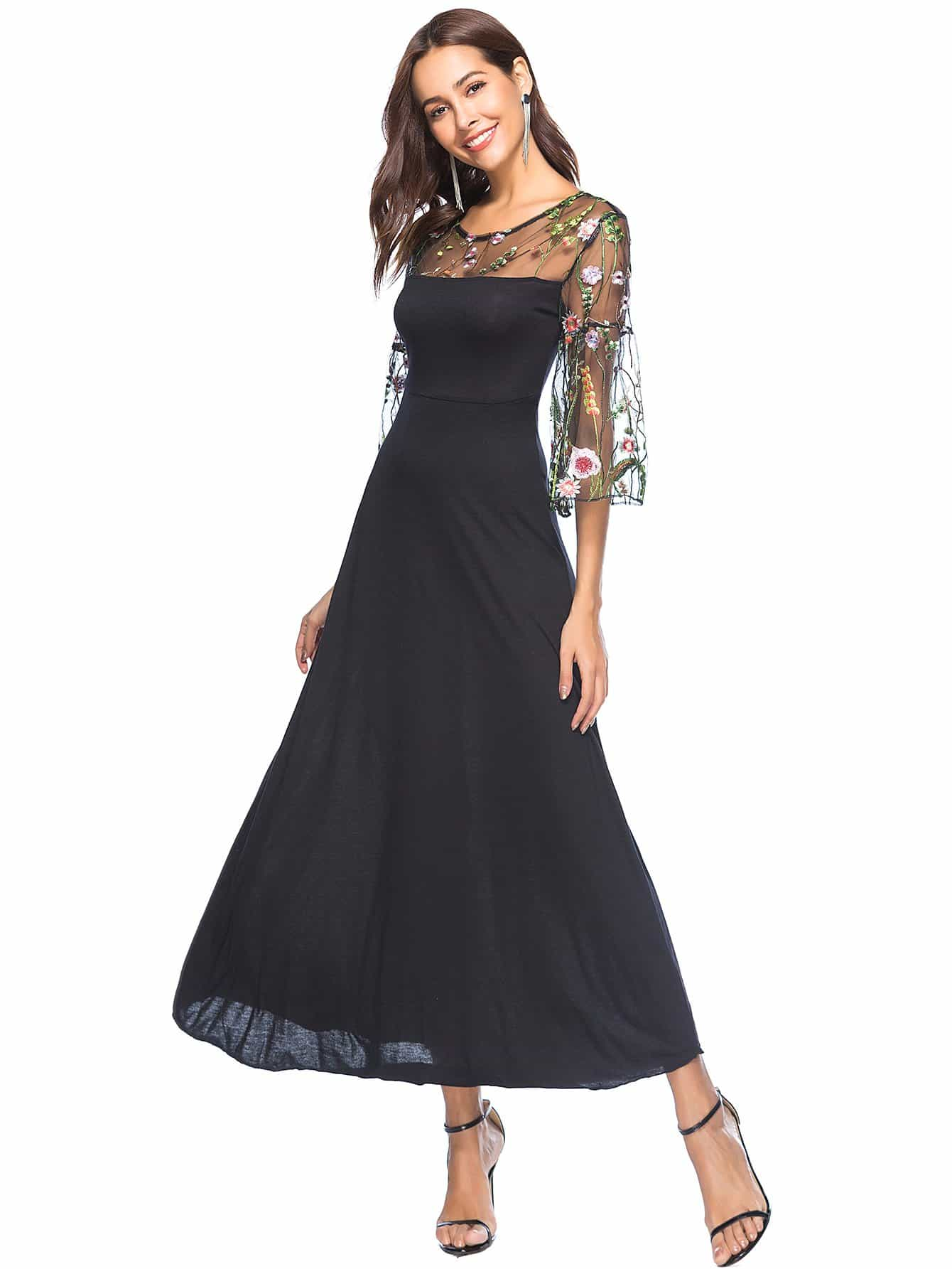 Sheer Mesh Panel Embroidery Flounce Sleeve Dress mesh panel sleeve dress