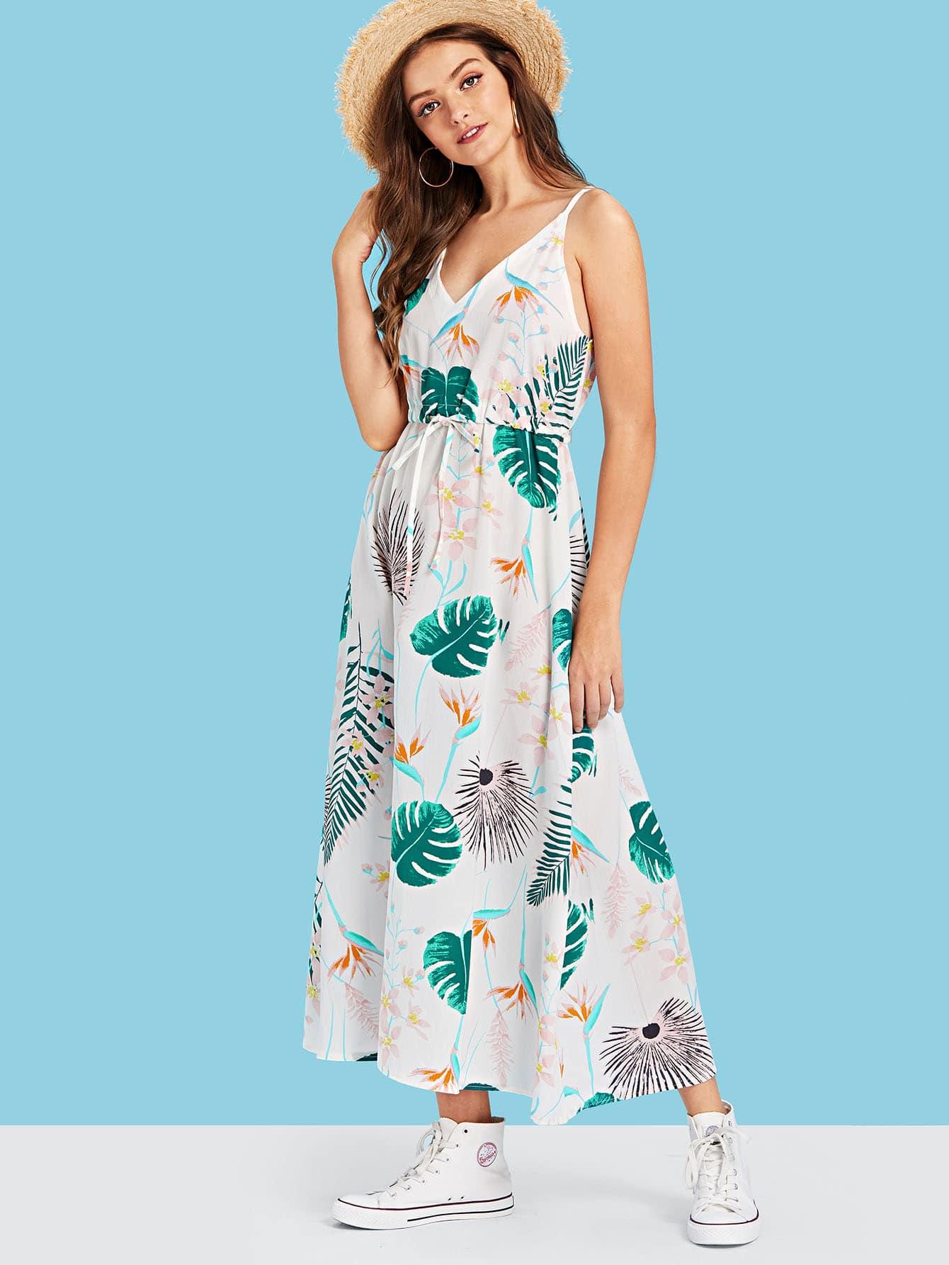 Ками платье с рисунком листьев и шнуровкой вокруг талии, Luiza, SheIn  - купить со скидкой