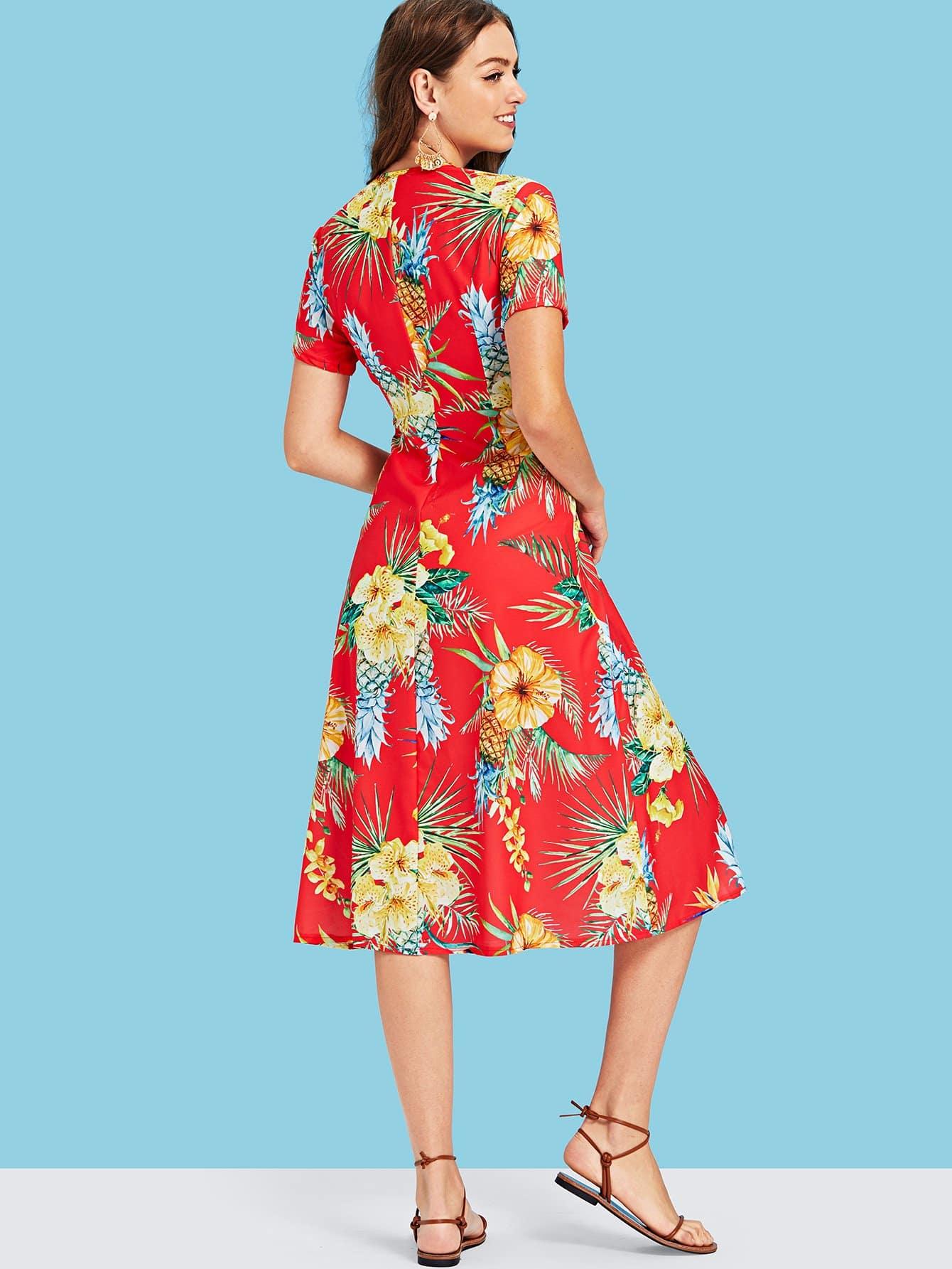 Купить Платье с рисунком ананаса и разрезом, Luiza, SheIn