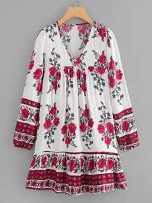 Botanical Print Pep Hem Dress