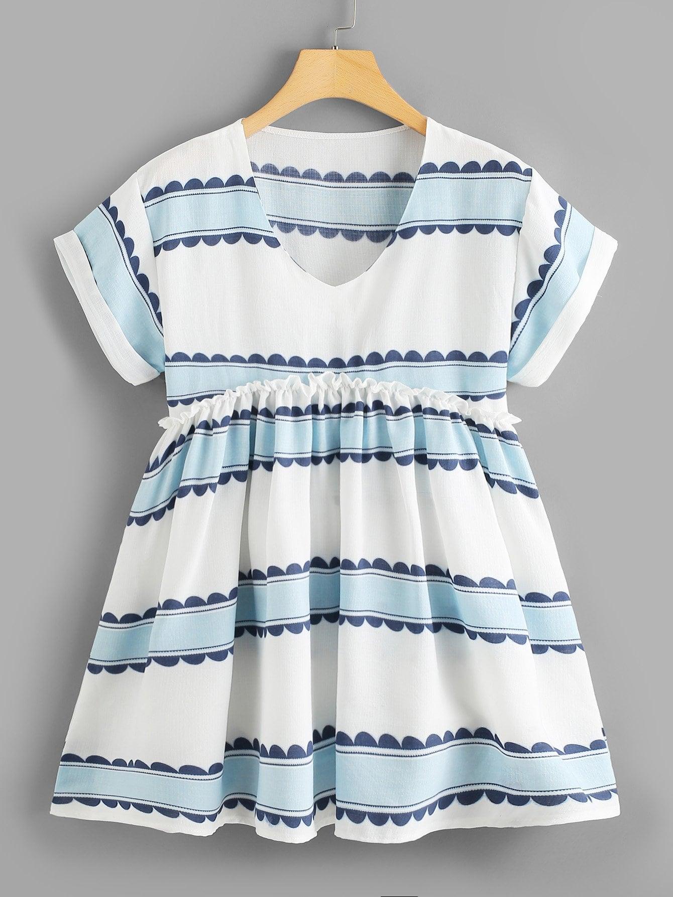 V Neckline Frill Trim Printed Dress v neckline frill trim striped top