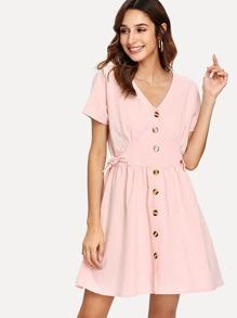 Knot Button V Neck Dress