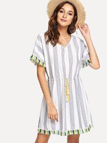 Striped Drawstring Fringe Dress