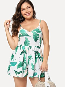 Plus Leaf Print Cami Romper