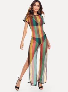 Colorful Striped Split Hem Romper Without Lingerie Set