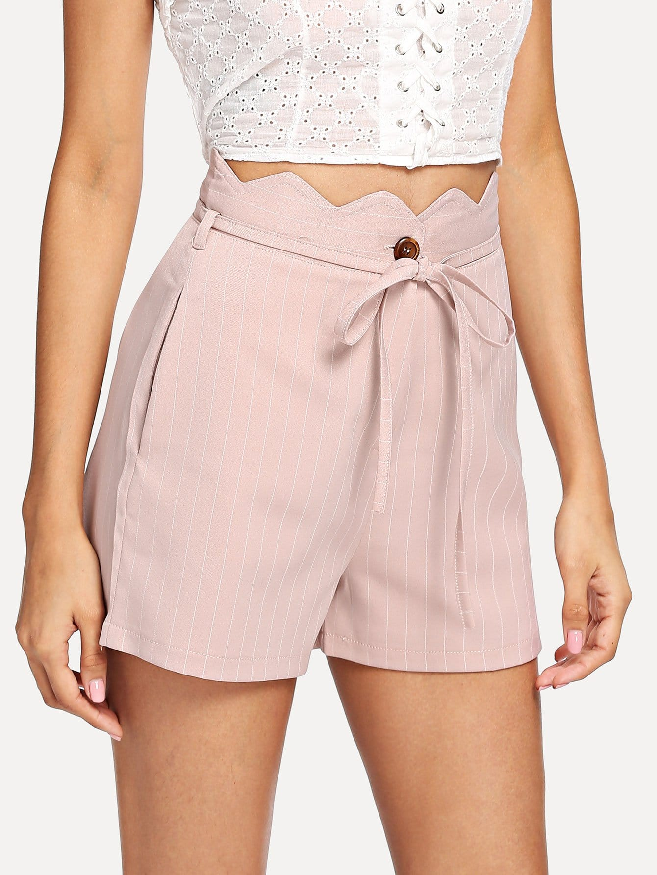 Scallop Trim Striped Shorts With Belt scallop trim striped top