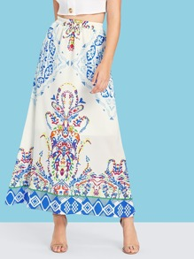 Graphic Print Ruched Waist Skirt