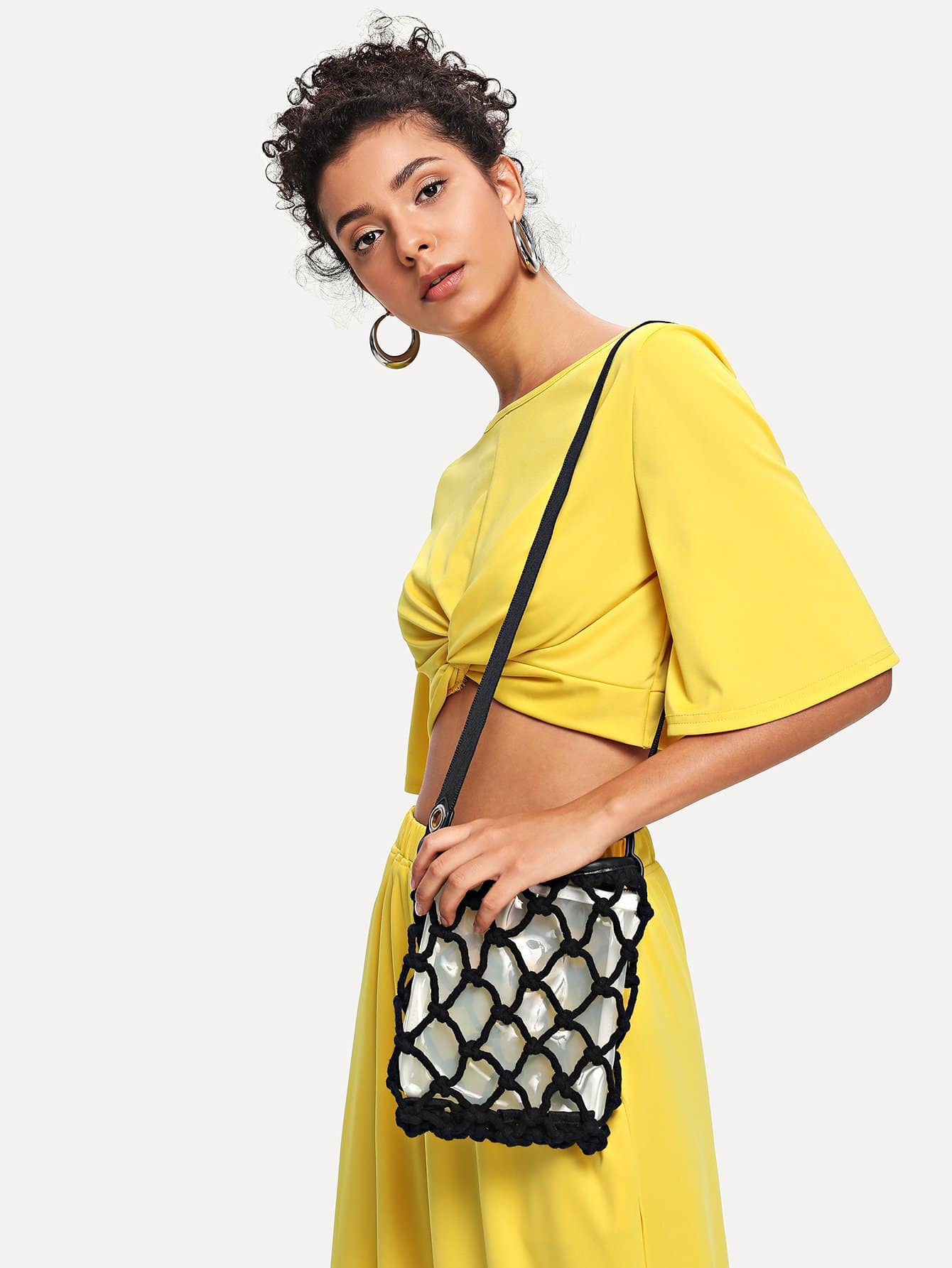 Net Shoulder Bag With Inner Pouch net tote bag with inner pouch