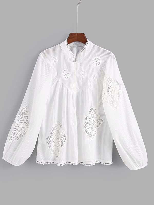 Hollow Out Crochet Lace Panel Blouse crochet lace panel top