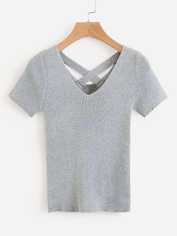 Купить Criss Cross Back Marled Knit Tee, null, SheIn