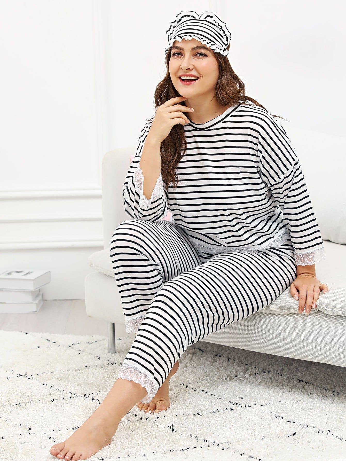 Купить Контрастный кружевной полосатый комплект для пижамы, Franziska, SheIn