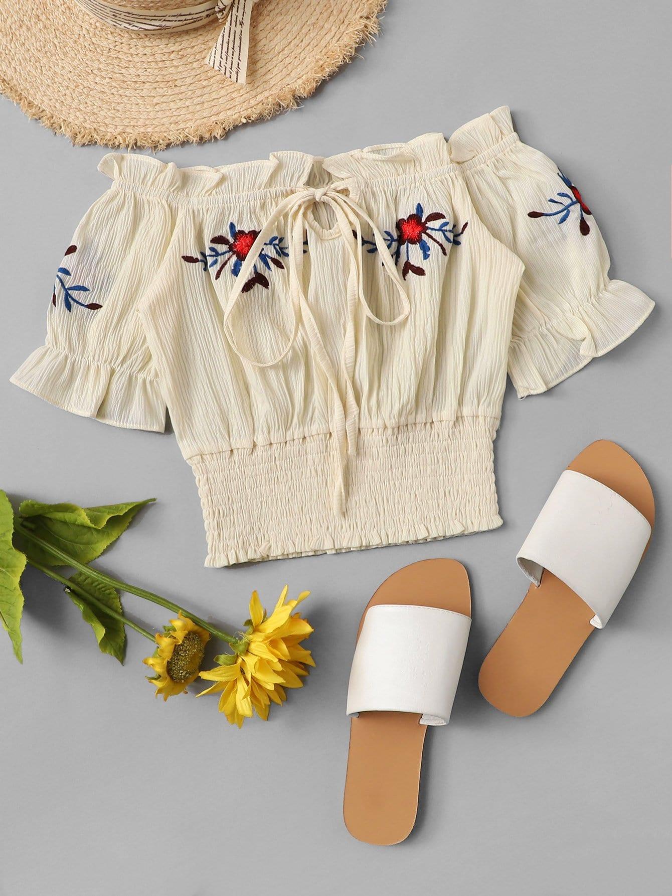 Bardot Ruffle Trim Embroidered Top