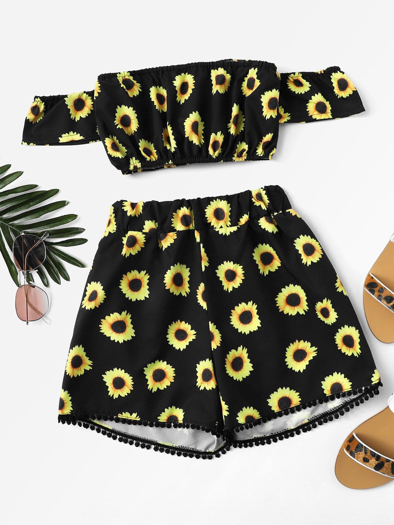 Купить Подсолнечник Print Crop Bardot Top с шортами, null, SheIn