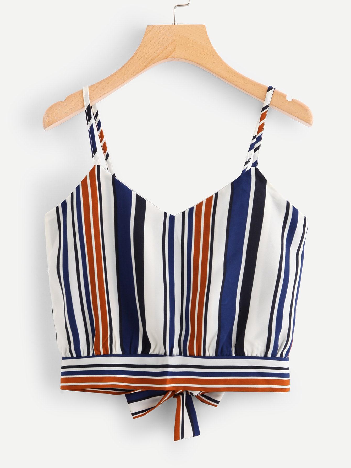 Купить Tie Back Striped Crop Cami Top, null, SheIn