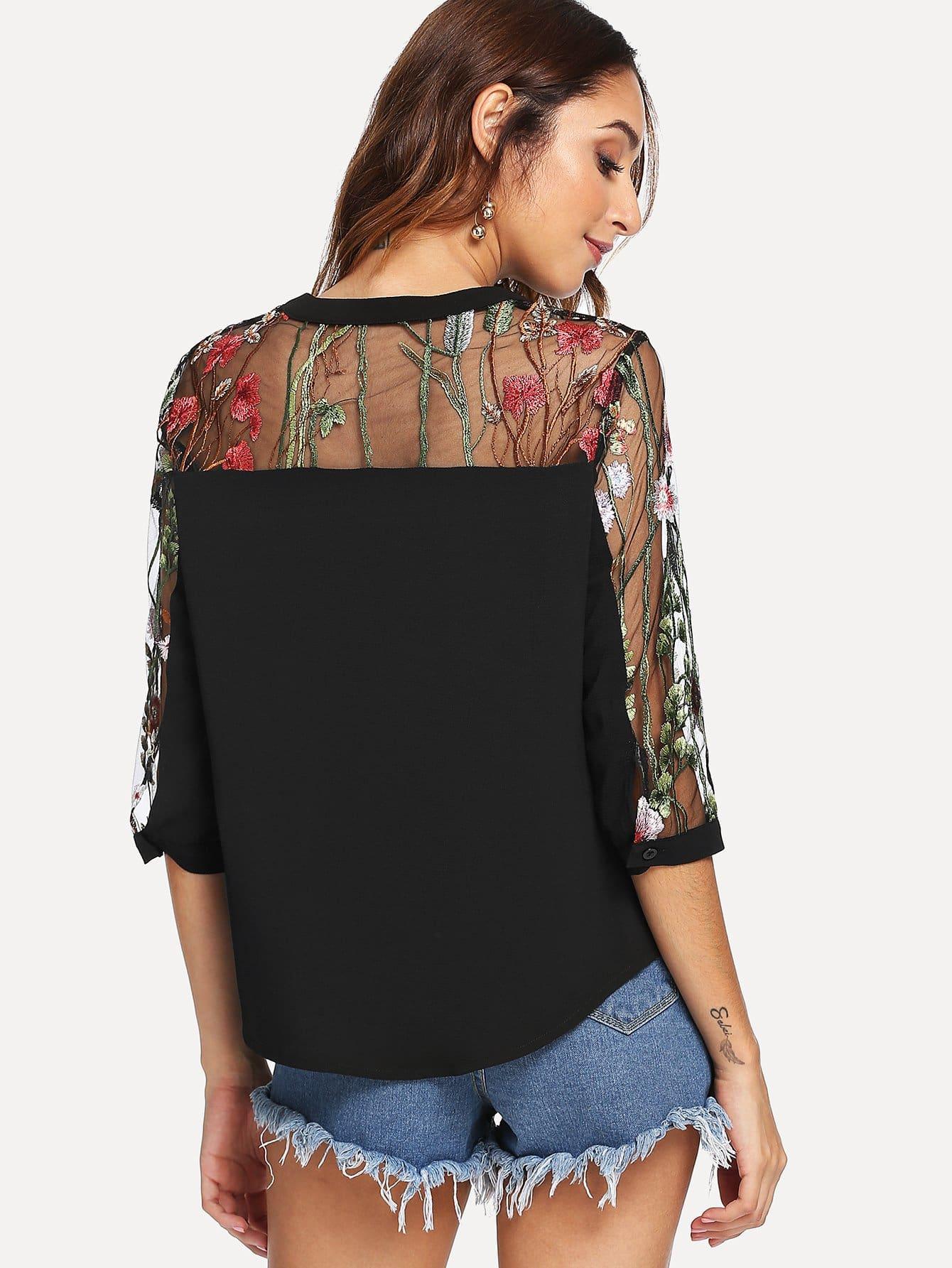 Купить Вышитая контрастная сетчатая блузка, Gabi B, SheIn