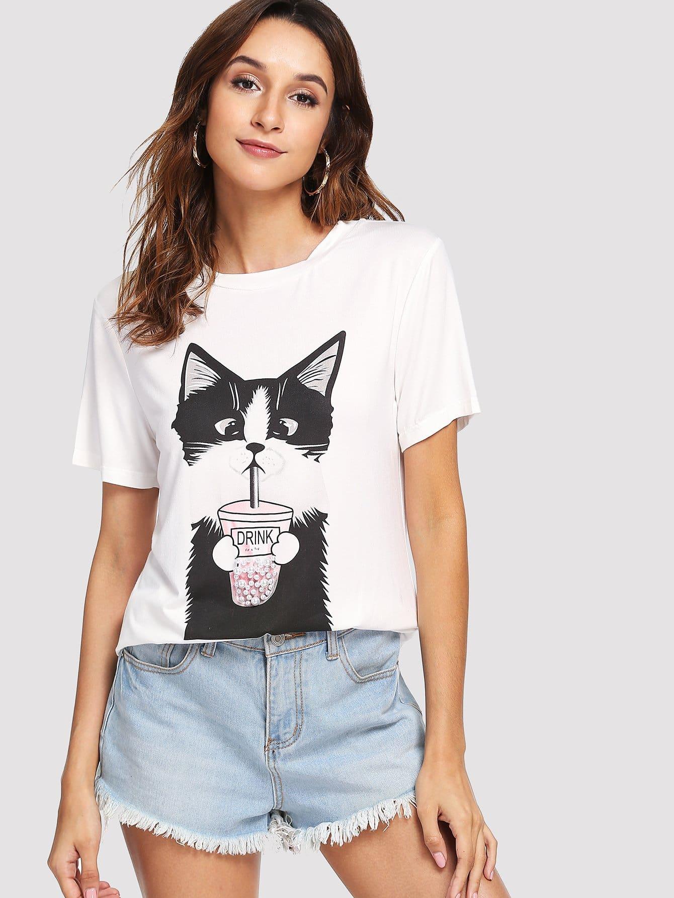 Купить Кота с коротким рукавом, Gabi B, SheIn
