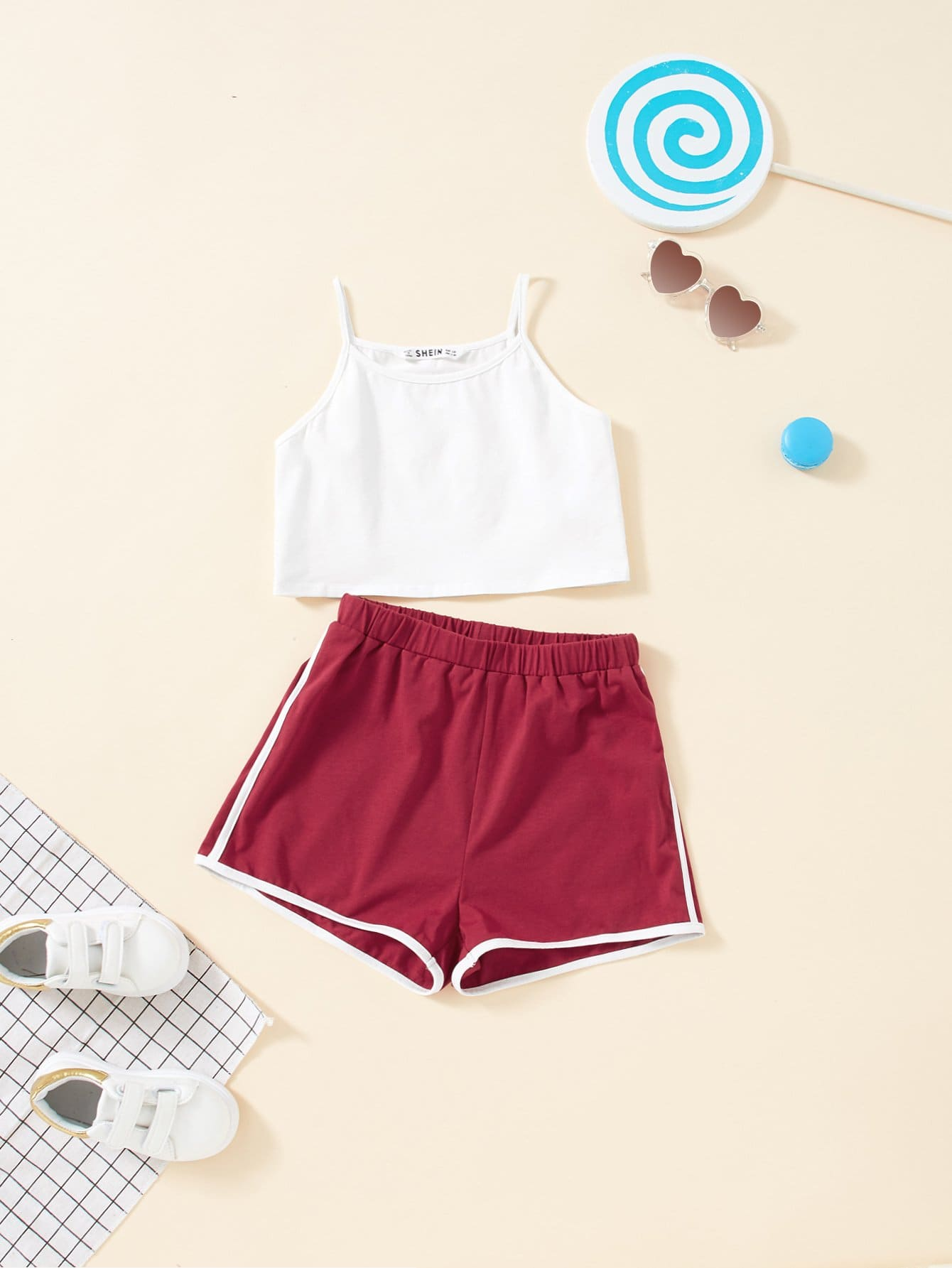 Girls Spaghetti Strap Top & Contrast Binding Shorts Set thai tide brand cape style fairy layer tassel stitching slim dress hollow out mesh lace stitching fringed champagne dress white