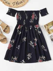 Floral Print Shirred Dress