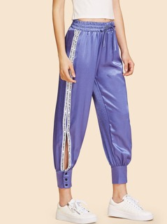Contrast Letter Tape Button Hem Slit Pants