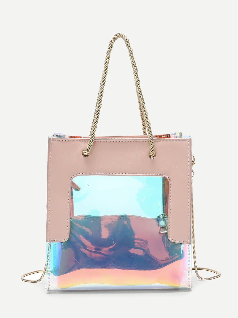 Iridescent Detail Tote Bag With Clutch iridescent tote bag