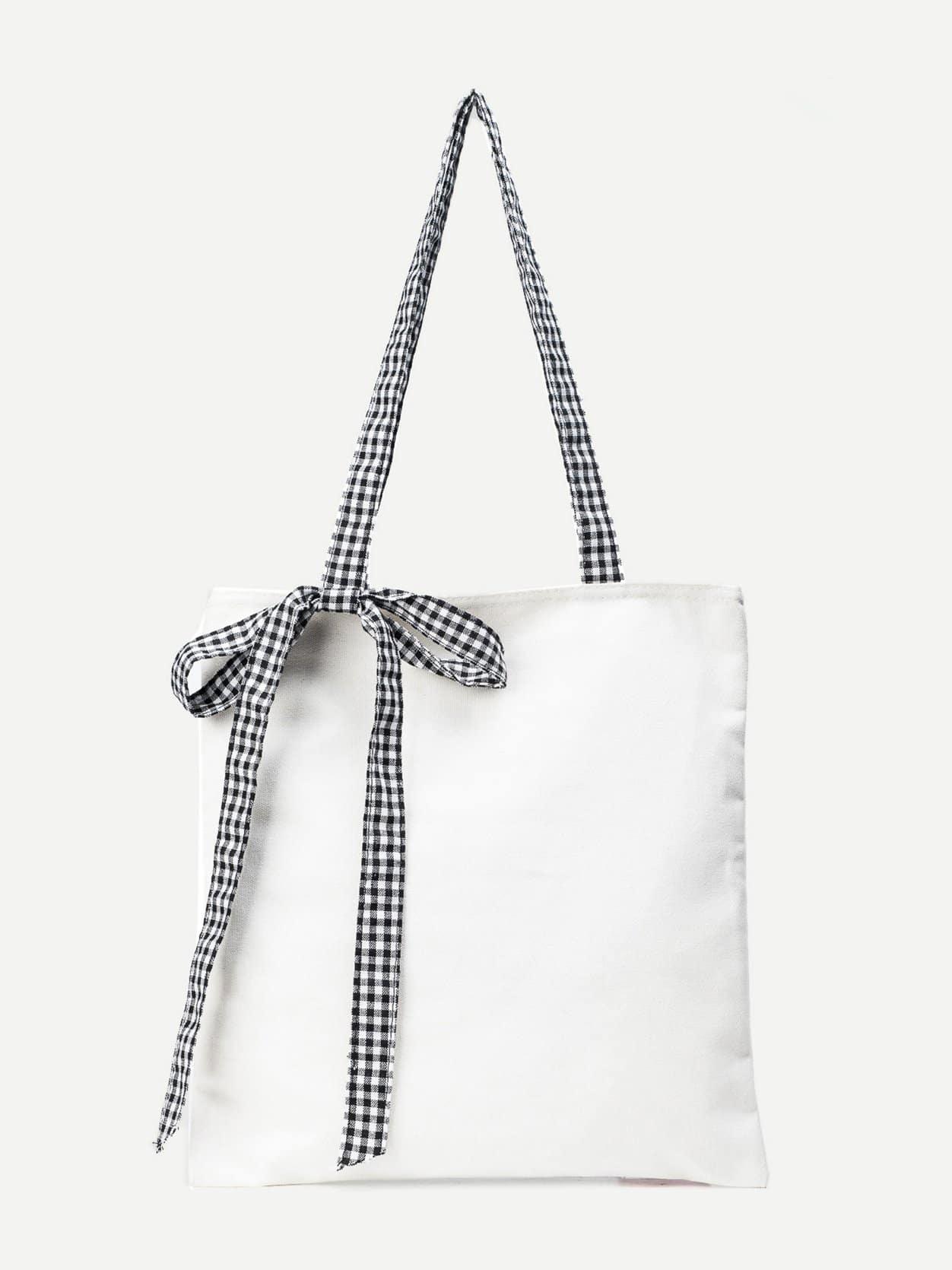 Plaid Decor Bow Tote Bag bow decor flower woven tote bag