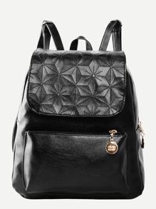 Flap PU Detail Pocket Front Backpack