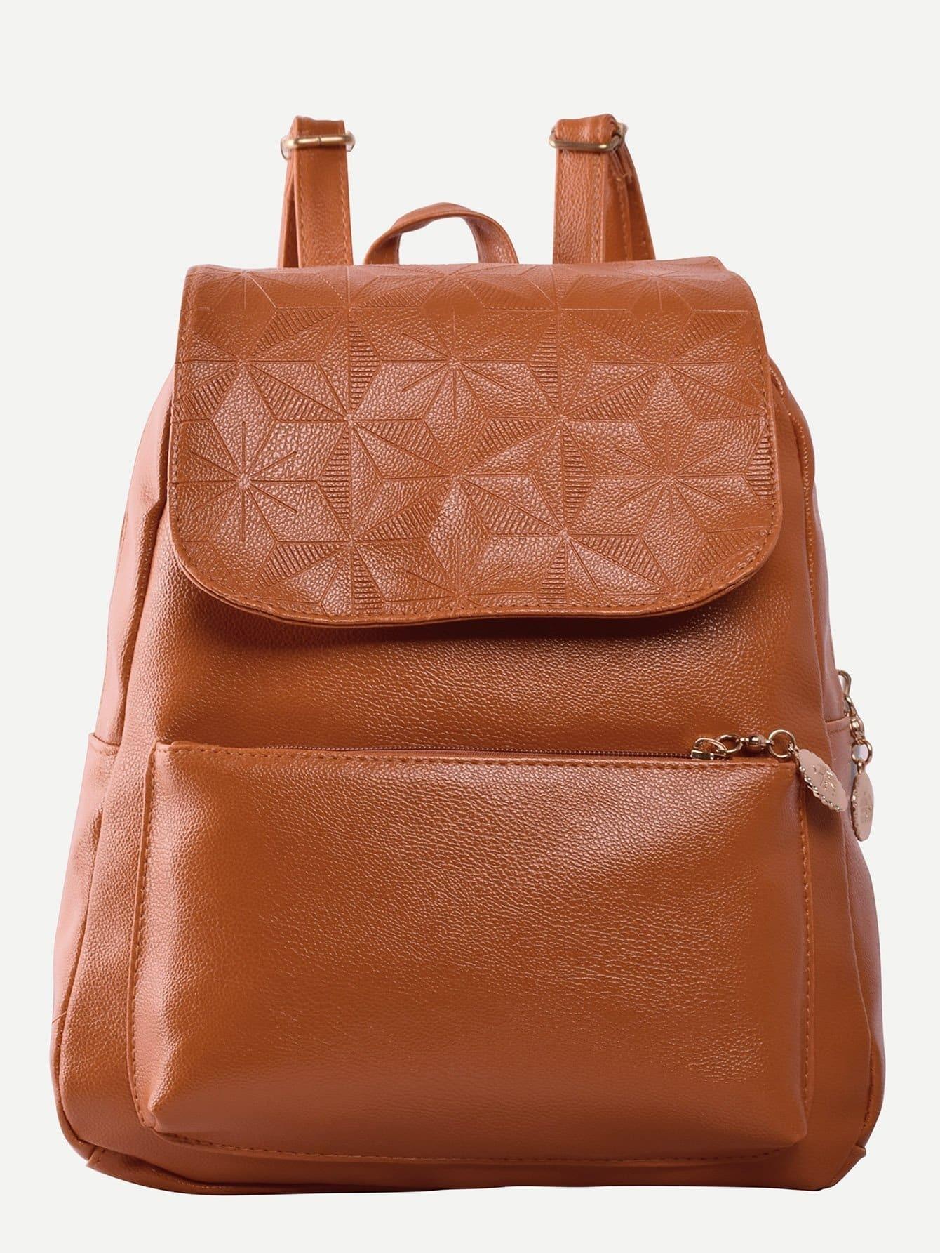 Flap PU Detail Pocket Front Backpack double pocket front flap backpack