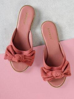 Faux Suede Peep Toe Bow Front Slide Sandal