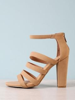 Strappy Open Toe Chunky Heel