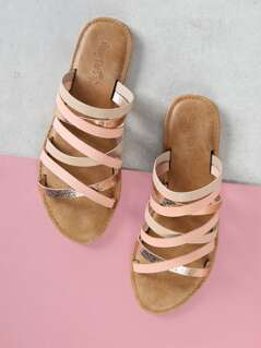 Asymmetrical Strappy Slide Sandal