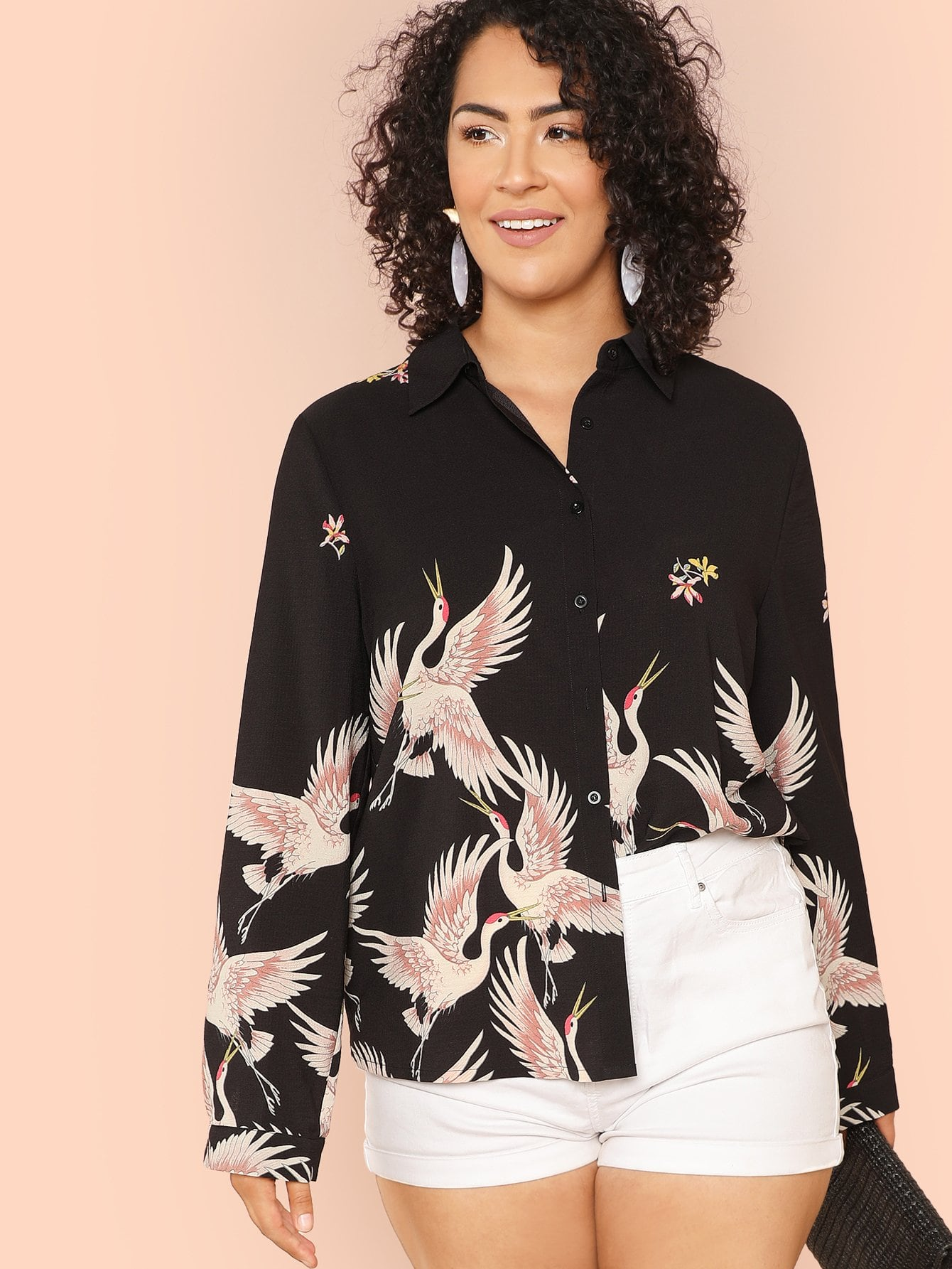 Plus Allover Flamingo Print Shirt allover flamingo print tee