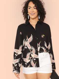 Plus Allover Flamingo Print Shirt