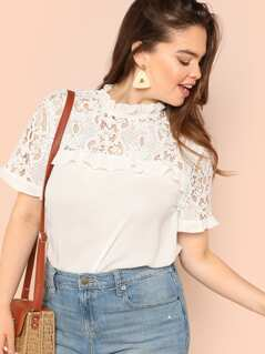 Plus Lace Yoke Frilled Neck Blouse