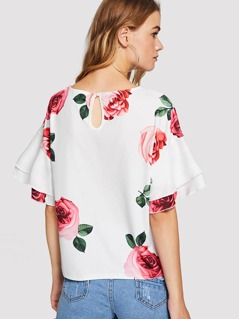 Rose Print Layered Bell Sleeve Top