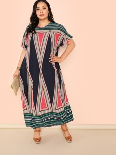 Plus Geo Print Oversized Dress