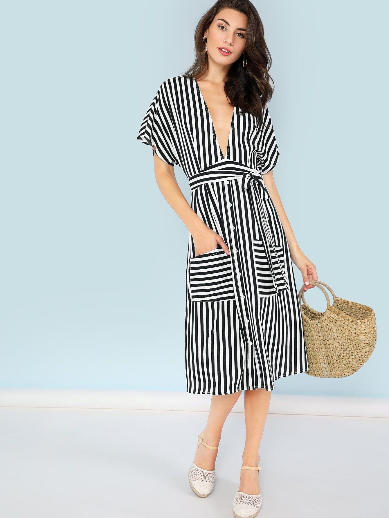 Купить Платье с полосками и карманом, Zandria Theis, SheIn