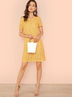 Short Sleeve Eyelash Hem Solid Dress