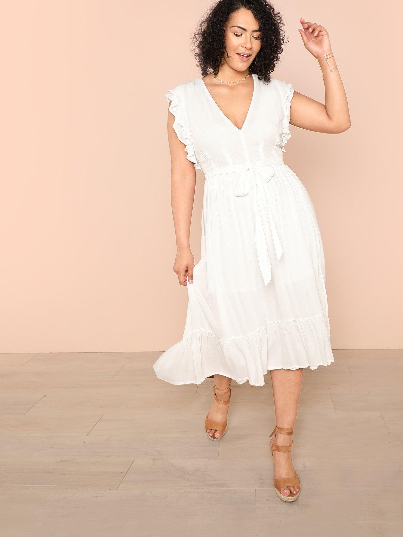 Погружение в шею Ruffle Armhole Self Belted Dress
