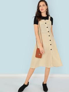 Asymmetric Placket Thick Strap Striped Dress