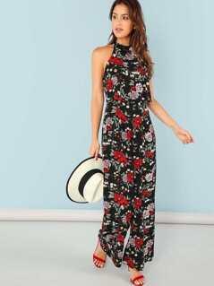 Flower Print Wide Leg Halter Jumpsuit