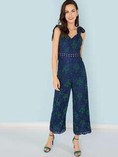 Slant Pocket Guipure Lace Insert Wide Leg Floral Jumpsuit