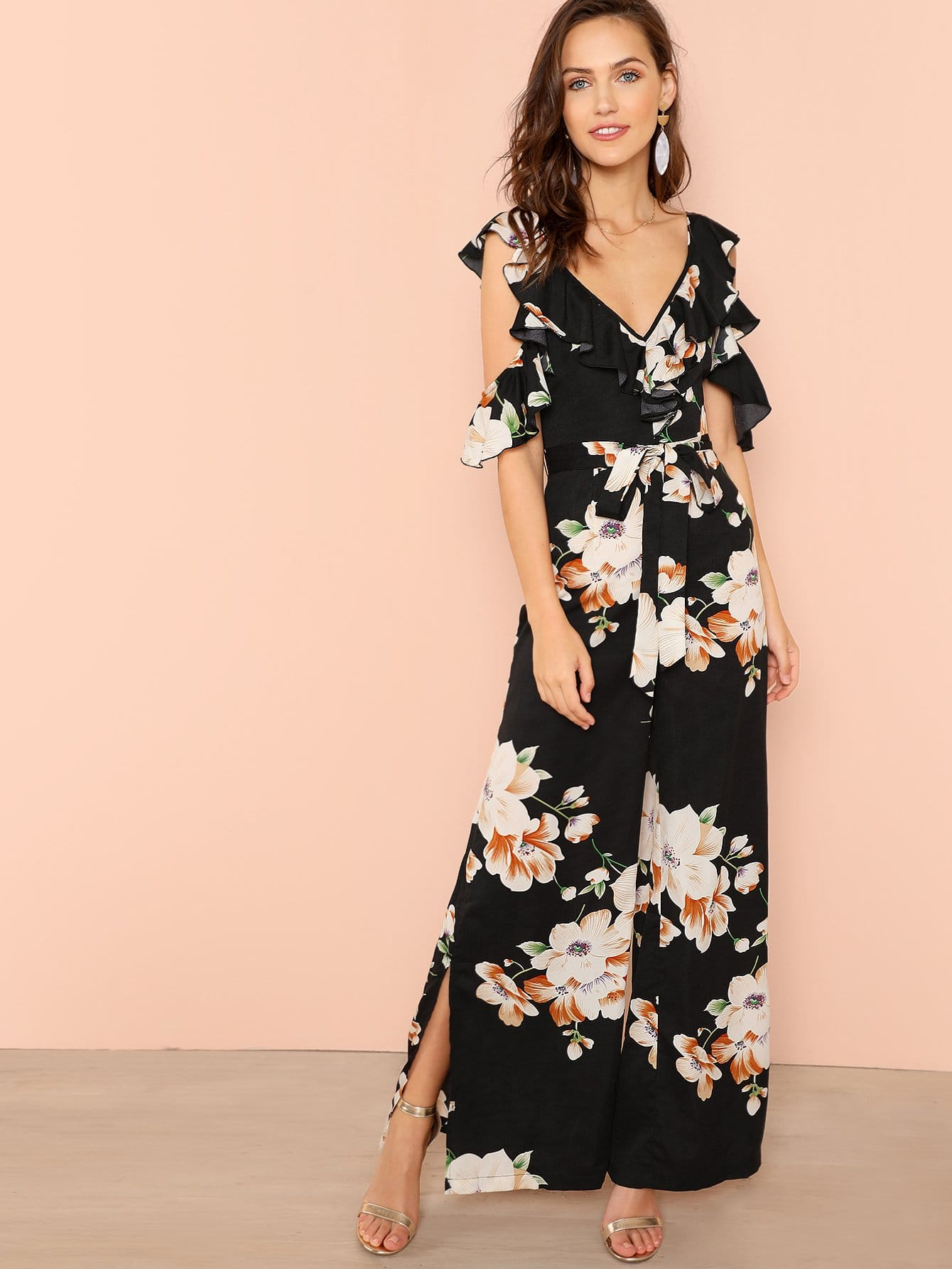 Flower Print Wide Leg Jumpsuit girls flower embroidered wide leg jumpsuit