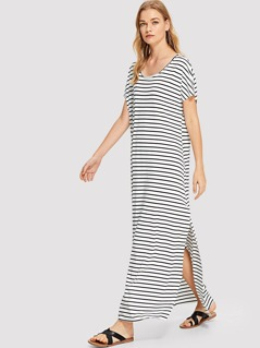 Slit Side Striped Dress