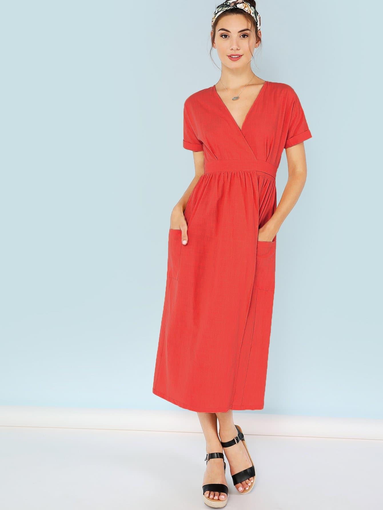 Купить Карманное платиновое платье с вырезом, Zandria Theis, SheIn