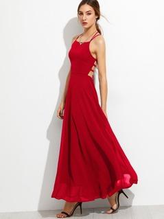 Lace Up Back Cami Dress