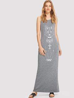 Cartoon Fox Print Marled Tank Dress